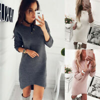 Women Ladies Winter long Sleeve Casual Loose Knitted Sweater Jumper Mini Dress