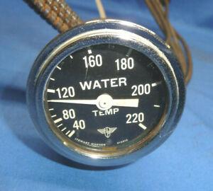 Vintage Stewart Warner Wings Curved Glass Water Temperature Gauge 2-1/16 CT13
