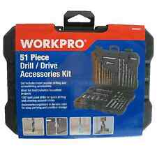 WorkPro 51PC Drill-Drive Accessories Kit Metric Set Drill Bits Screwdriver Bits