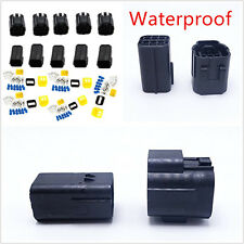 Black 6-Pin Waterproof Car Truck Amp Electrical Sealed Wire Connector Plug 5 Kit