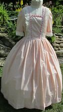 CIVIL WAR GOWN - PINK & IVORY CALICO - IVORY LACE & RIBBON  - SIZE 14