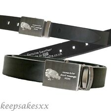 Leather Belt Personalised + DOG Staffy Bull Terrier in UK Sterling Silver + Eng.