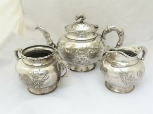 VINTAGE CHINESE SILVER PLATED TEA SET ENGRAVED READING MAN  DESIGN - SIGNED