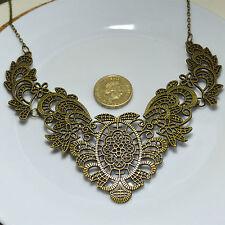 Vintage Antiguo Bronce Flor Floral Distintiva Cadena Collar Regalo Chic