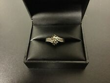 10 K Solid White Gold Marquise Diamond Wedding Ring And Wrap Size 7.