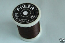 100m Fil SHEER montage MARRON 14/0 peche mouche fly tying thread brown