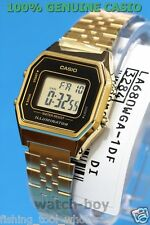 LA680WGA-1D Gold Schwarz Casio Edelstahl Uhr Dame Stoppuhr Alarm Digital