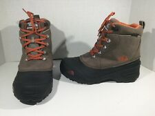 NORTH FACE Boys Chilkat Lace II Brown Leather Winter Boots Shoes Sz 7 Y ZE-891