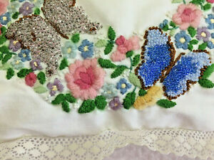Throw Pillow HAND Beaded Vtg EMBROIDERED Lace Faux DRUZY Butterflies FLOWERS
