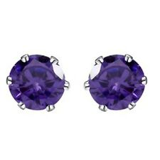 8mm 14K White Gold Basket  Solitaire Amethyst Earrings Studs