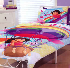 Dora the Explorer Quilt Doona Duvet Cover Set Dora Bedding Kids Rainbow Balloon