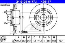 2x Bremsscheibe für Bremsanlage Vorderachse ATE 24.0126-0177.1