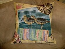 SANDPIPERS/BEACH TAPESTRY PILLOW COVER  ANDREA TACHEIRA SIGNED ARTIST