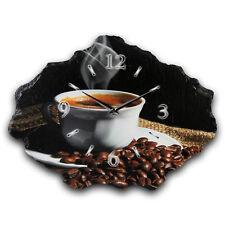 Kaffee Küche Designer Funk Wanduhr leise Funkuhr * Naturschiefer *Kreative Feder