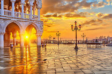 STUNNING VENICE SKYLINE SUNRISE CANVAS #487 WALL HANGING PICTURE ART A1
