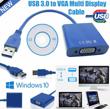 USB 3.0 A Male to VGA 15 pin Female Video Display External Cable Cord Adapter UK