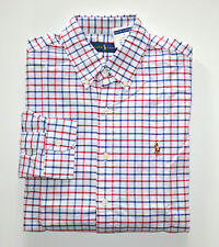NWT Men's Ralph Lauren Casual Long-Sleeve Oxford Shirt White Blue Red L, Large