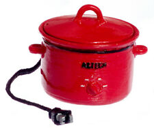 Dollhouse Miniature - Red Metal Electric Crock Pot with Removable Lid 1/12 scale