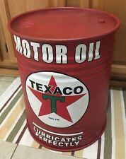 Texaco Motor Oil Trash Can Metal Man Cave Garage Shop Vintage Style Pump Decor