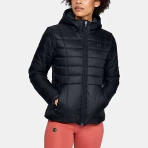 Women's Under Armour Insulated Hooded Jacket Coat Black New Small size 8-10