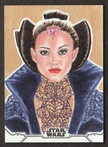 2020 Topps Star Wars Holocron ART SKETCH Trading Card Queen Padme Amidala 1/1