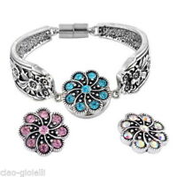 3PCs Flower Crystal Rhinestone Snap Buttons Regular Mixed Jewelry Necklace DIY
