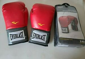 Everlast Pro Style Red Training Gloves 16 Oz Ounces Mitt Work Sparring 1200009
