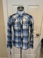 Denim & Supply Ralph Lauren Blue Plaid Button Up Western Shirt, Size S