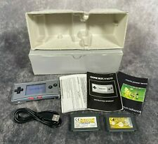 Silver Nintendo Game Boy Micro Handheld Console Tested Boxed + Games Bundle