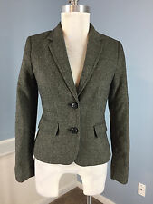 BANANA REPUBLIC XS 2 P Gray Tweed Wool Blend Career Cocktail Blazer Excellent