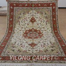 Yilong 6'x9' Hand Knotted Wool Silk Carpets Red Actual Handcraft Area Rugs 1432