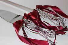 Hochzeit Tortenbesteck - Tortenmesser und Tortenheber , bordeaux weinrot