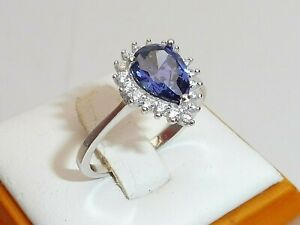 Ladies Solid 925 Sterling Silver 1.2 CT Pear Cut Tanzanite & White Sapphire Ring