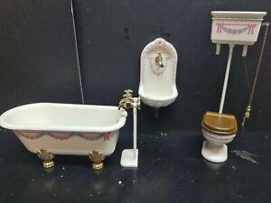 dolls house furniture Bodo Hennig bath/taps/toilet/single tap wall sink 1.12th