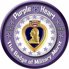 "Purple Heart - 5.5"" Round Magnetic Sign  - Tough, Durable"