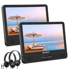"""2x12"""" Dual Screen Car Headrest Moniter TV DVD Player USB SD AV IN OUT+Headphones"""