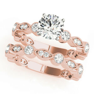 1.45Ct Diamond Band Sets 14K Rose Gold Womens Engagement Rings Size 7 6.5 5 Sale