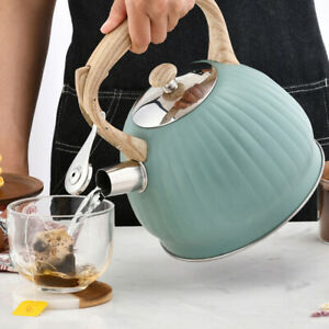 3.5L Green Whistling Tea Kettle Water Kettle Wood Grain Handle for Stovetops
