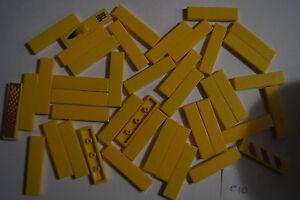 LEGO - 42 YELLOW 4x1 TILES / BLOCKS - House / Castle / Floor # 2431 (e10 GENUINE