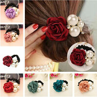Women Fashion Satin Ribbon Rose Flower Pearls Hairband Ponytail Holder Hair Band