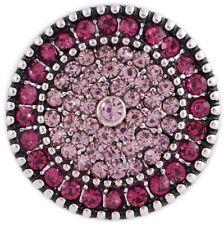 Light Dark Pink Rhinestone 20mm Snap Charm For Interchangeable Ginger Snaps
