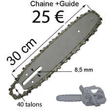 tranconneuse Guide + chaine 40 Talons longeur totale guide 30cm  elageuse 25cc