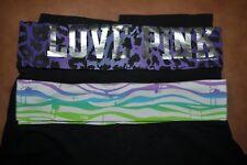 PINK Victorias Secret YOGA CAPRI CROP PANTS LOT OF 2 Fold Over Womens SIZE M
