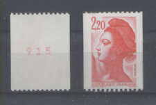 FRANCE TIMBRE ROULETTE 2379b N° rouge au verso LIBERTE rouge - LUXE **