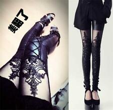 Punk Rave Womens Gothic Embossed Decorative Pattern Leggings Pants Steampunk CB