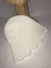 Handmade Toddler Infant Winter Stocking Hat Taboggon Acrylic White Size XS