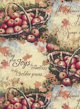 Harvest Basket Of Apples 100% cotton fabric by the yard