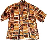 Men's BRUNO Casual Rayon Short Sleeve Shirt Size Large Browns Button Down