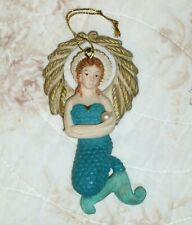 Vintage Mermaid Angel Christmas Tree Ornament Handmade Holding a Pearl
