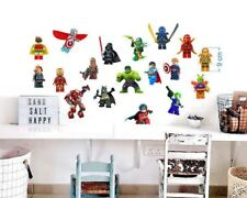Lego 18 Characters Wall Stickers bedroom decal mural art home 9 cm height